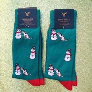 Snowman & Dog Christmas Men's AEO Crew Socks 2Pair